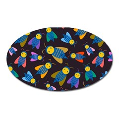 Bees Animal Insect Pattern Oval Magnet by Nexatart