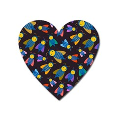 Bees Animal Insect Pattern Heart Magnet by Nexatart