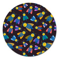 Bees Animal Insect Pattern Magnet 5  (round) by Nexatart