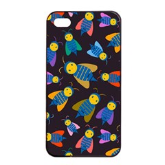 Bees Animal Insect Pattern Apple Iphone 4/4s Seamless Case (black)