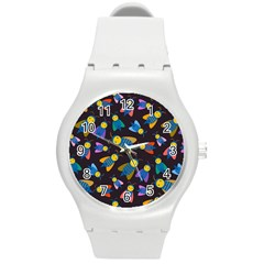 Bees Animal Insect Pattern Round Plastic Sport Watch (m) by Nexatart