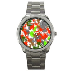 Abstract Watercolor Background Wallpaper Of Splashes  Red Hues Sport Metal Watch by Nexatart