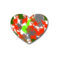 Abstract Watercolor Background Wallpaper Of Splashes  Red Hues Rubber Coaster (heart)