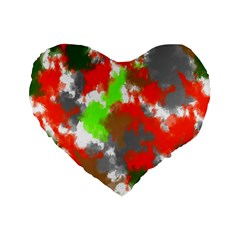 Abstract Watercolor Background Wallpaper Of Splashes  Red Hues Standard 16  Premium Heart Shape Cushions