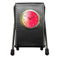 Abstract Red And Gold Ink Blot Gradient Pen Holder Desk Clocks