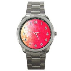 Abstract Red And Gold Ink Blot Gradient Sport Metal Watch by Nexatart
