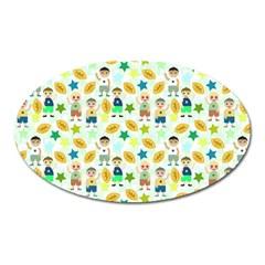 Football Kids Children Pattern Oval Magnet by Nexatart