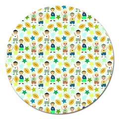 Football Kids Children Pattern Magnet 5  (round)