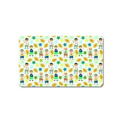 Football Kids Children Pattern Magnet (name Card) by Nexatart