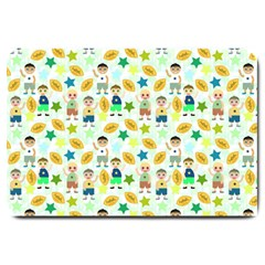 Football Kids Children Pattern Large Doormat  by Nexatart