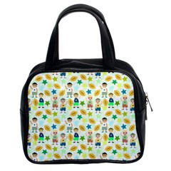 Football Kids Children Pattern Classic Handbags (2 Sides) by Nexatart
