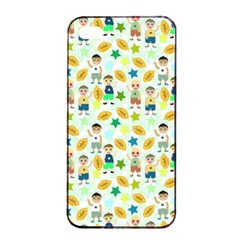Football Kids Children Pattern Apple Iphone 4/4s Seamless Case (black) by Nexatart