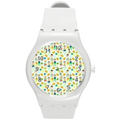 Football Kids Children Pattern Round Plastic Sport Watch (m) by Nexatart