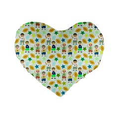 Football Kids Children Pattern Standard 16  Premium Flano Heart Shape Cushions by Nexatart