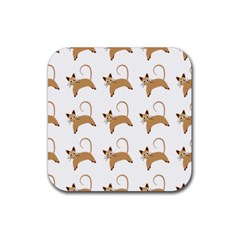 Cute Cats Seamless Wallpaper Background Pattern Rubber Coaster (square)  by Nexatart