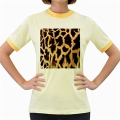Yellow And Brown Spots On Giraffe Skin Texture Women s Fitted Ringer T Shirts