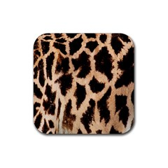 Yellow And Brown Spots On Giraffe Skin Texture Rubber Square Coaster (4 Pack)  by Nexatart