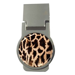 Yellow And Brown Spots On Giraffe Skin Texture Money Clips (round)