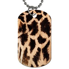 Yellow And Brown Spots On Giraffe Skin Texture Dog Tag (two Sides) by Nexatart