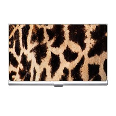 Yellow And Brown Spots On Giraffe Skin Texture Business Card Holders by Nexatart