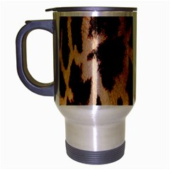Yellow And Brown Spots On Giraffe Skin Texture Travel Mug (silver Gray) by Nexatart