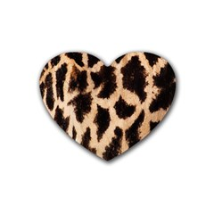 Yellow And Brown Spots On Giraffe Skin Texture Heart Coaster (4 Pack)  by Nexatart