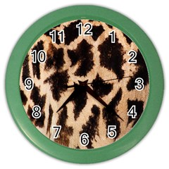 Yellow And Brown Spots On Giraffe Skin Texture Color Wall Clocks by Nexatart