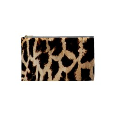Yellow And Brown Spots On Giraffe Skin Texture Cosmetic Bag (small)  by Nexatart