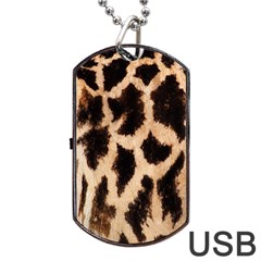 Yellow And Brown Spots On Giraffe Skin Texture Dog Tag Usb Flash (two Sides)