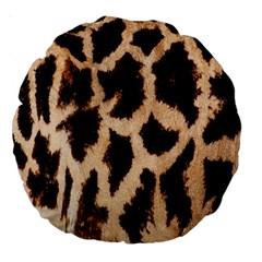 Yellow And Brown Spots On Giraffe Skin Texture Large 18  Premium Round Cushions by Nexatart