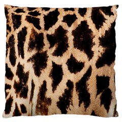 Yellow And Brown Spots On Giraffe Skin Texture Large Flano Cushion Case (one Side)