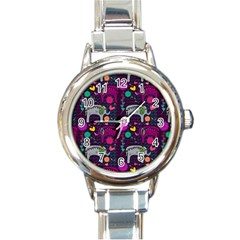 Love Colorful Elephants Background Round Italian Charm Watch