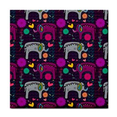 Love Colorful Elephants Background Tile Coasters by Nexatart