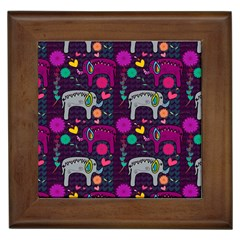 Love Colorful Elephants Background Framed Tiles by Nexatart