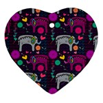 Love Colorful Elephants Background Ornament (Heart) Front