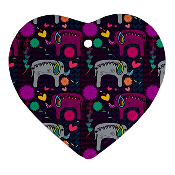 Love Colorful Elephants Background Ornament (Heart)