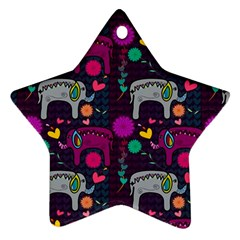 Love Colorful Elephants Background Ornament (star)