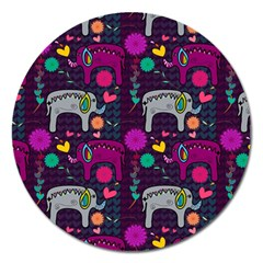Love Colorful Elephants Background Magnet 5  (round) by Nexatart
