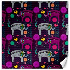 Love Colorful Elephants Background Canvas 12  X 12   by Nexatart