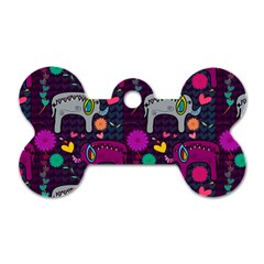 Love Colorful Elephants Background Dog Tag Bone (two Sides) by Nexatart
