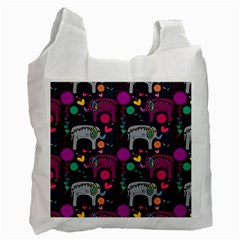 Love Colorful Elephants Background Recycle Bag (two Side)