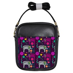 Love Colorful Elephants Background Girls Sling Bags by Nexatart
