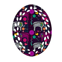 Love Colorful Elephants Background Oval Filigree Ornament (two Sides)