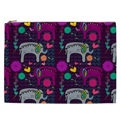 Love Colorful Elephants Background Cosmetic Bag (xxl)  by Nexatart