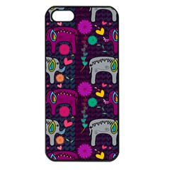 Love Colorful Elephants Background Apple Iphone 5 Seamless Case (black) by Nexatart