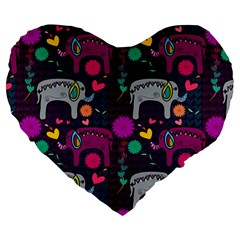 Love Colorful Elephants Background Large 19  Premium Heart Shape Cushions by Nexatart