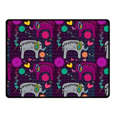 Love Colorful Elephants Background Double Sided Fleece Blanket (small)