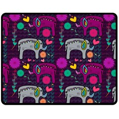 Love Colorful Elephants Background Double Sided Fleece Blanket (medium)