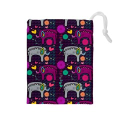 Love Colorful Elephants Background Drawstring Pouches (large)