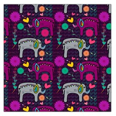 Love Colorful Elephants Background Large Satin Scarf (square)